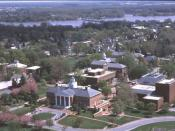 An aerial view of the Washington College campus and Chestertown, Maryland, United States.