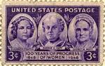 English: Postage stamp featuring Elizabeth Stanton, Carrie Chapman Catt, and Lucretia Mott, 1948.