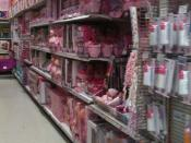 English: Shelves with pink girls toys, Canada 2011