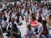 Peaceful demonstration against reservation, fluttering the national flag