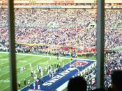 English: The view from the pressbox of the endzone during Super Bowl XXXV
