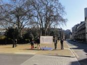 English: Four people from the '40 Days for Life' campaign protesting outside the Bedford Square offices of the British Pregnancy Advisory Service (BPAS), a provider of abortion services.