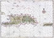English: Nautical chart of Hispaniola and Puerto Rico. Ink and watercolor with pictorial relief. Français : Carte nautique des îles d'hispaniola et Porto Rico. Encre et aquarelle.