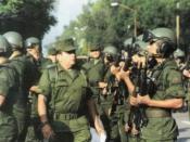 Militares del Ejército Mexicano a su llegada al estado de Michoacán, México.