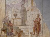 Cassandra (centre) drawing lots with her right hand predicts the downfall of Troy in front of Priam (seated, on the left), Paris (holding the apple of discord) and a warrior leaning on a spear, presumably Hector. Fresco on plaster, 20–30 CE. From the Hous