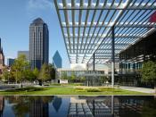 The Winspear Opera House and the Meyerson Symphony Center in the Downtown Dallas Arts District.