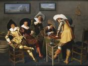 Gentlemen Smoking and Playing Backgammon in an Interior by Dirck Hals, 1627.