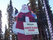 English: large wooden Santa Claus and