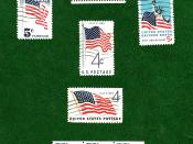 English: US_Flags_green.jpg Postage stamps and postal history of the United States|History of the United States government|American Revolution|US Flags