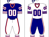 Buffalo Bills uniform: 1975-1983 *solid red socks were worn from '82-'83