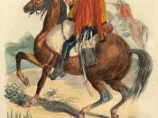 French hussard of Napoleon troops in 1809 (4-th regiment). From book of P.-M. Laurent de L`Ardeche «Histoire de Napoleon», 1843