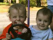Children playing in a push car. An instance where