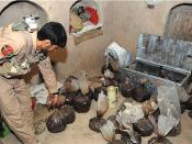 English: HELMAND PROVINCE, Afghanistan (May 8, 2009) - An Afghan National Police officer picks up a bag of opium. Afghan National Police officers, along with U.S. Special Operations Soldiers, discovered 600 pounds of opium May 7, 2009, during a cordon and