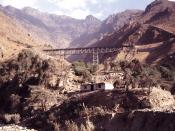 English: One of the steel bridges on the Central Railroad. Location near Matucana, Perú.