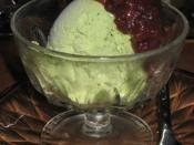 Green tea (matcha) ice-cream with red bean.