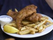 English: Cod and chips in Horseshoe Bay, B.C., Canada