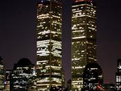 English: The twin towers of the World Trade Center (New York) at night in July 2001.