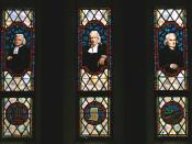 Three early Methodist leaders, Charles Wesley, John Wesley, and Francis Asbury, portrayed in stained glass at the Memorial Chapel, Lake Junaluska, North Carolina