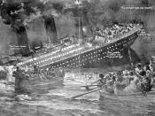Illustration of the sinking of the Titanic Français : Illustration montrant le naufrage du Titanic