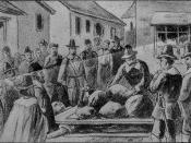 Old drawing of the death of Giles Corey (Sept. 19, 1692) by being pressed with heavy stones after conviction as a witch during the Salem Witch Trials.
