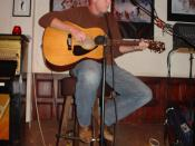 Musician performs at open mic at the No Name bar in Sausalito, CA.