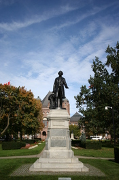 Statue of Sir John A. Macdonald, the first Prime Minister of Canada, on the grounds of the Ontario Legislative Building in Queen's Park, Toronto, Ontario, Canada.