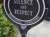 A sign commanding silence and respect at Arlington National Cemetery, Washington, the District. (Author: David Bjorgen)