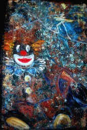 English: The Clown and the tightrope walker, Painter:Herbert Schondelmaier (my own painting)