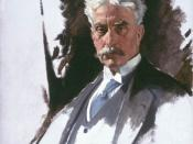 Portrait of Canadian Prime Minister Sir Robert Borden. This portrait served as the model for Borden's portrait in a large group portrait of the conference delegates which now hangs in the Imperial War Museum in London.