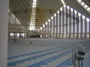 Inside the Shah Faisal Mosque in Islamabad, Pakistan.