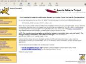 Screenshot of Apache Tomcat (jakarta project) default front page. Browser is Gnome Epiphany.