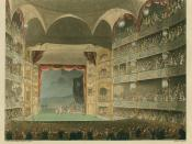 Interior of Theatre Royal, Drury Lane ca. 1808: This engraving was published as Plate 32 of Microcosm of London (1808) (see File:Microcosm of London Plate 009 - Billingsgate Market.jpg).