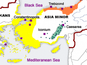 Distribution of Greek dialects during the late Byzantine Emptire, 12-15th centuries. Yellow, late Byzantine Koine Greek, which formed the foundation of Modern Greek; orange, Pontic Greek; green Cappadocian Greek. Labels are in Russian.