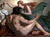 After Prometheus has created man out of mud, Athena breathes life into him, imparting reason and understanding. Part of a cycle on the myth of Prometheus by Christian Griepenkerl. Ceiling painting (oil on canvas) above the grand staircase in the Augusteum