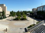 A panoramic picture of the Angell Center courtyard at the State University of New York at Plattsburgh.