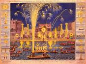 An etching of the Royal Fireworks display on the Thames, London, England in 1749.