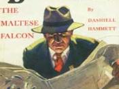 Cover of seminal hardboiled magazine Black Mask, September 1929, featuring part 1 of its serialization of The Maltese Falcon, by Dashiell Hammett. Illustration of private eye Sam Spade by Henry C. Murphy, Jr.