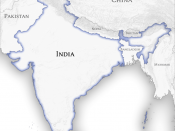 English: Map showing the official borders and neighbouring countries of the Republic of India as recognized by the Indian Government. The actual border of control varies from the official one in the Kashmir region which is controlled partly by India, Paki