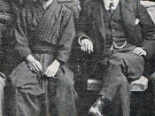 Jun'ichirō Tanizaki as an editor of the Journal of the First Higher School (then the preparatory division for the Tokyo Imperial University), and its Head Master Nitobe Inazō. A cropped image from the