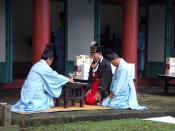 A Confucian ritual ceremony in Autumn in Jeju, South Korea.