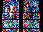 Stain glass of history of Robert E Lee in the National Cathedral