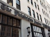 The sign above the entrance to The Philadelphia Inquirer-Daily News Building in Philadelphia, PA. Taken from North Broad Street.