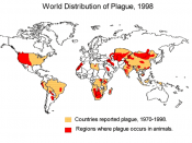 Worldwide distribution of plague infected animals 1998