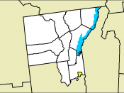 English: Map of Warren County, New York with city of Glens Falls highlighted.