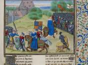 Jehan Froissart, Chroniques - caption: 'The Peasants' Revolt in England in 1381. The scene of conflict and the death of Wat Tyler, leader of the peasants by the sword.'