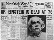 English: News headline announcing his death Category:Albert Einstein