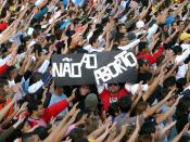 Youth gathered to meet Benedict XVI at the Estádio do Pacaembu in São Paulo, Brazil.