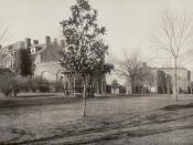 Panoramic photo of campus taken around 1909