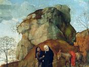 Detail of Mary and Joseph going to Bethlehem for the census (left panel)