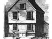 English: Etching of Benjamin Franklin's birthplace on Milk Street, Boston